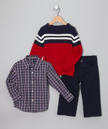 Cherry & Navy Stripe Sweater Set - Toddler