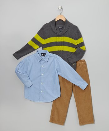 Coal & Apple Cable-Knit Pullover Sweater Set - Boys