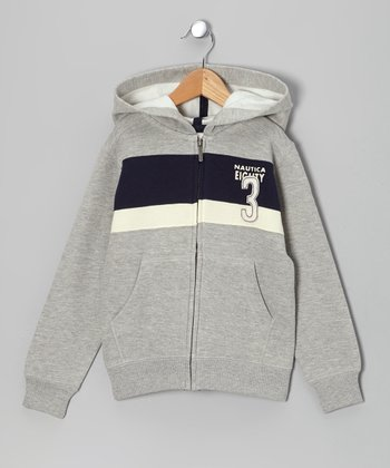 Ash & Navy Stripe 'Eighty 3' Fleece Zip-Up Hoodie - Boys