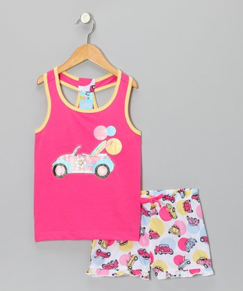 Pink Beach Buggy Pajama Set - Girls