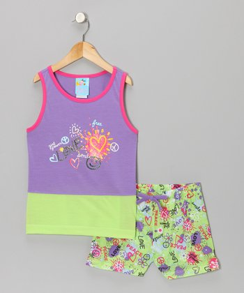 Purple Peace & Love Pajama Set - Girls