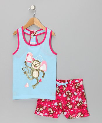 Blue Monkey Dance Pajama Set - Girls