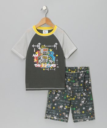 Gray 'Future' Robot Pajama Set - Boys