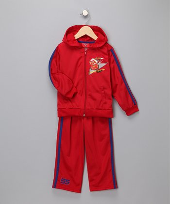 Red 'Cars' Warm-Up Pants & Jacket - Infant & Toddler