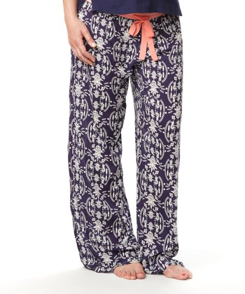 Navy Enchanted Under-Belly Maternity Pajama Pants - Women