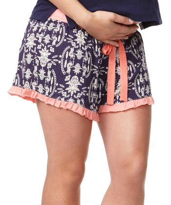 Navy Enchanted Under-Belly Maternity Shorts - Women