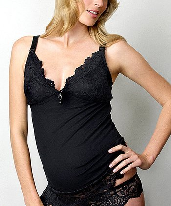 Black Ruffle My Feathers Maternity & Nursing Camisole - Women