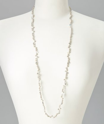 Platinum Crystal Four Elements Air Macramé Necklace