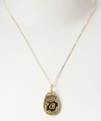 Brass Enchanted Night Insignia 'B' Charm Necklace