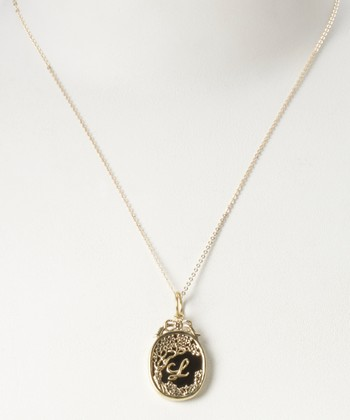 Brass Enchanted Night Insignia 'L' Charm Necklace