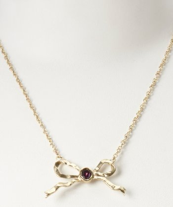 Amethyst Crystal & Brass Intentionally Rare Bow Necklace