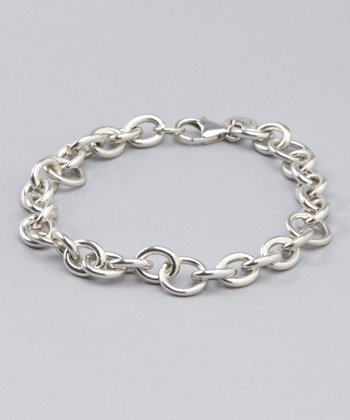 Large Sterling Silver Cable Bracelet