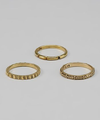 Brass Double Line Ring Set
