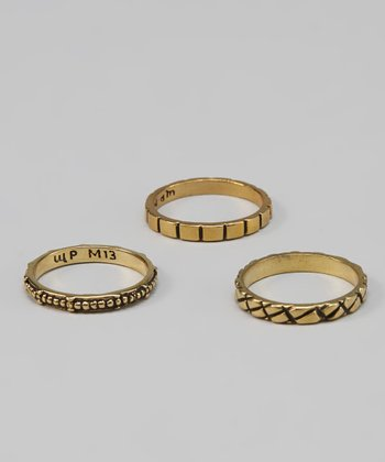 Brass Line Ring Set
