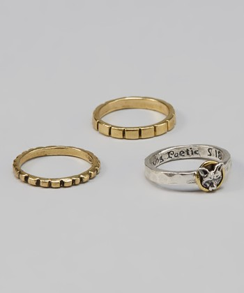 Sterling Silver & Brass Fox Talisman Ring Set
