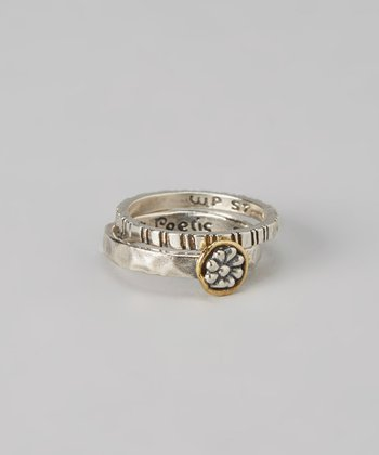 Sterling Silver & Brass Daisy Talisman Ring Set