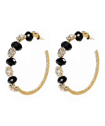 Gold & Jet Black Itzli Crystal Hoop Earrings