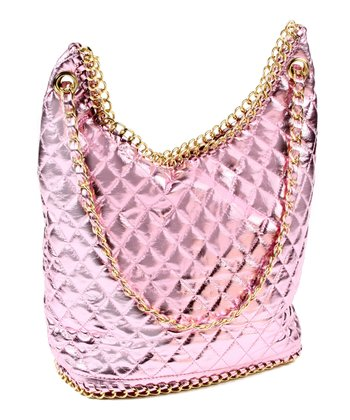 Baby Pink Metallic Angelina Hobo