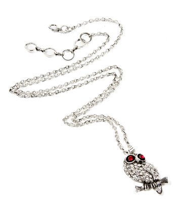 Antique Silver Sitting Owl Necklace