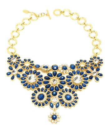 Lapis Crystal Cocoa Bib Necklace