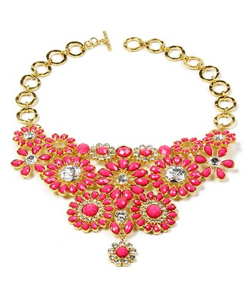 Fuchsia Crystal Cocoa Bib Necklace