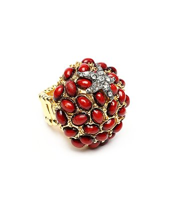 Coral Pebble Stretch Ring