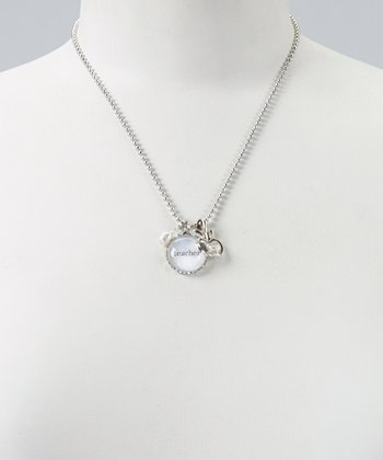 Silver 'Teacher' Charm Necklace