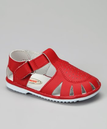 Red Pinpoint Closed-Toe Sandal