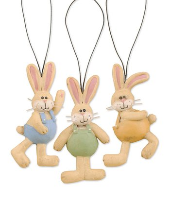 Bunnies In Overalls Ornament Set