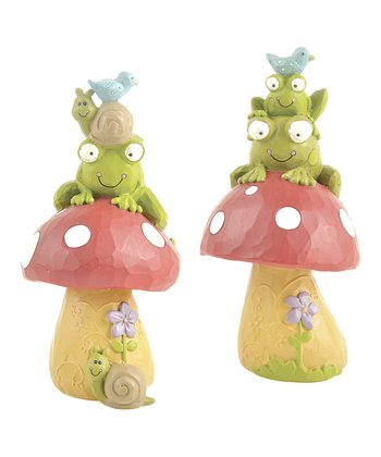Frog Friend & Mushroom Figurine Set