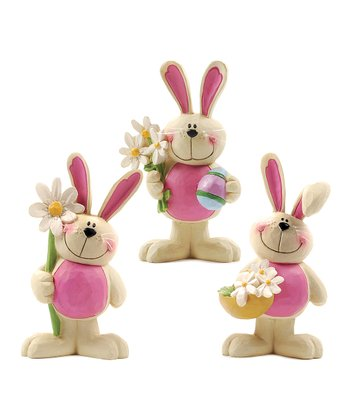 Pink & White Floral Bunny Collectible Set