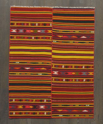 Multicolor Offset Stripe Kilim Wool Rug