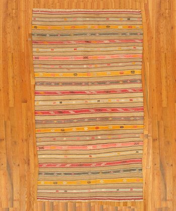 Yellow Stripe Kilim Wool Rug