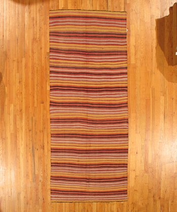 Red & Yellow Stripe Kilim Wool Rug