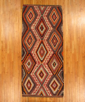 Red & Gray Diamond Kilim Wool Rug