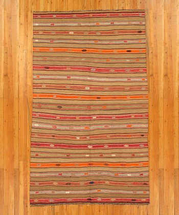 Brown & Orange Stripe Kilim Wool Rug