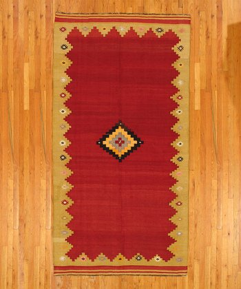 Red Diamond Kilim Wool Rug