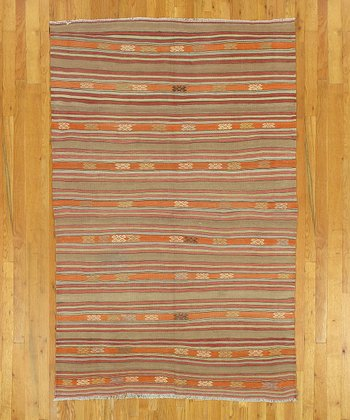 Orange & Brown Kilim Wool Rug