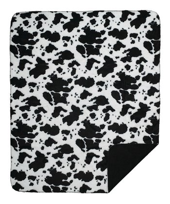 Black Cow Double-Sided Throw Blanket