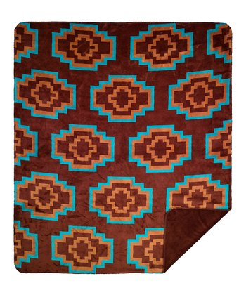 Brown & Teal Tribal Reversible Throw