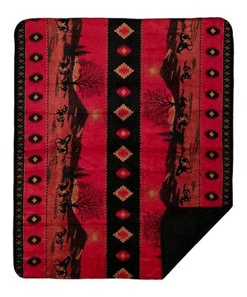 Red Running Horses Double-Sided Throw Blanket
