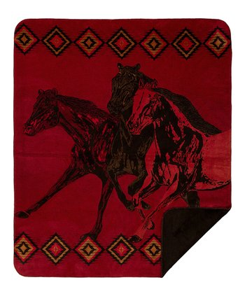 Wild Horses Double-Sided Throw Blanket