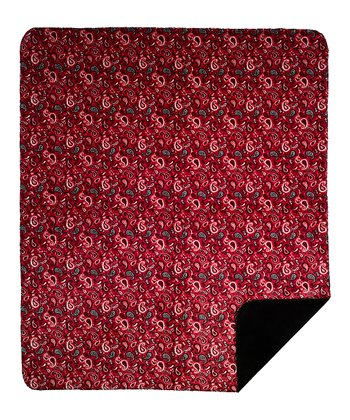 Red Paisley Double-Sided Throw Blanket