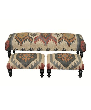 Multicolor Kilim Three-Piece Bench Set