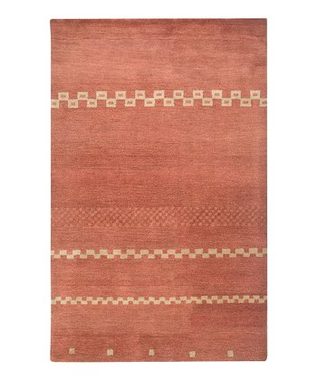 Red Modern Hand-Tufted Wool Rug