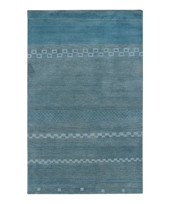 Blue Modern Hand-Tufted Wool Rug