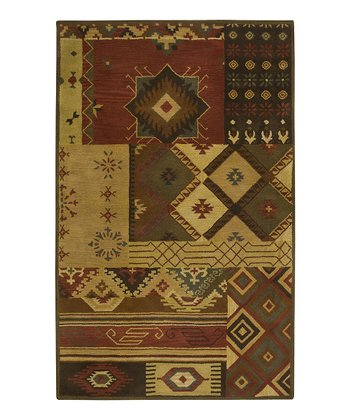 Brown Southwest Hand-Tufted Wool Rug