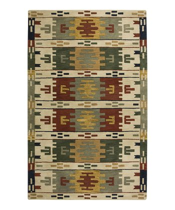 Beige Southwest Hand-Tufted Wool Rug