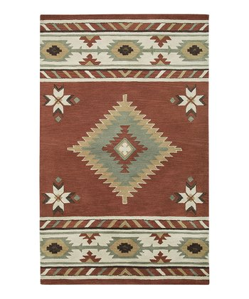 Navajo Red Southwest Hand-Tufted Wool Rug
