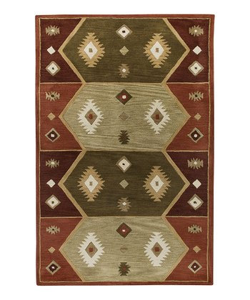 Hopi Red Southwest Hand-Tufted Wool Rug